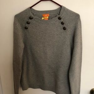 Grey sweater with button details at top small
